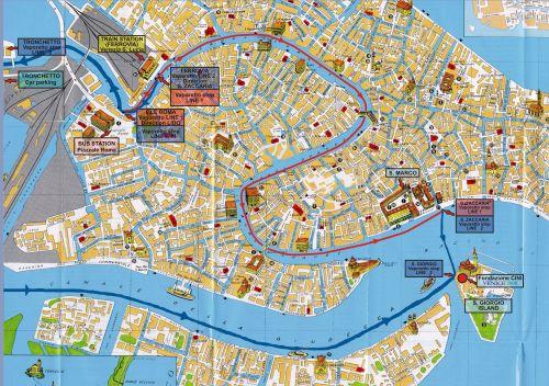 Карта Венеции с некоторыми маршрутами