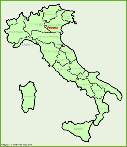 Верона на карте Италии